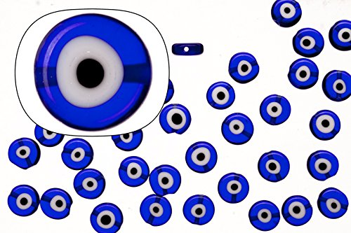 Glass beads, sapphire blue base evil eye amulet design, 10mm round plate. sold per 35cm string -