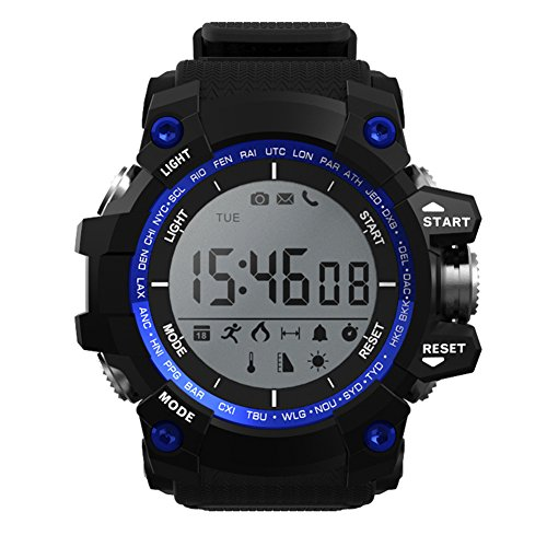Alloet NO.1 F2 Sport Smart Watch Hardened Mineral Glass Waterproof Pedometer Calorie Consumption Mileage Records Stopwatch (Black, Blue, Green) (Blue)
