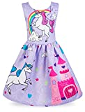 Wocau Little Girls Stars Unicorn Rainbow Dress Pageant Pleated Dress (Purple Bowknot, 6-7 Years)