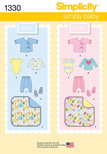 Baby Bootie Pattern (Simplicity Simply Baby Pattern 1330 Pants, Booties, Blanket, Knit Top and Body Suit Sizes 1-18 Months 7-24 Pounds)