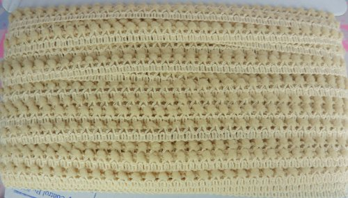 Beige Cream Mini Pompom Embellished Appliques Trim Braid Embroidered 36 (Sew Pillow Trim)