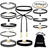 Paxcoo CN-01 Black Velvet Choker Necklaces with Storage Bag for Women Girls, ...