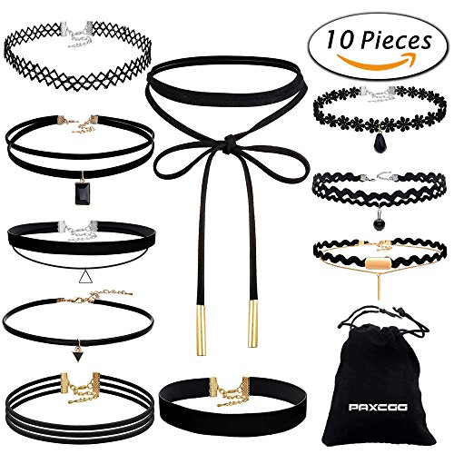 Paxcoo 10PCS Black Velvet Choker Necklaces with A Stroage Bag for Women Girls