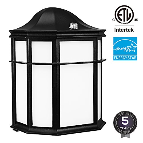 LED Outdoor Wall Light with Dusk to Dawn Photocell, 14W (80W Equiv.), Energy Star ETL Listed Vintage Style Security Wall Pack Light, Warm White 3000K, 1050Lm, 5 YEARS WARRANTY - Energy Star Outdoor Wall Light