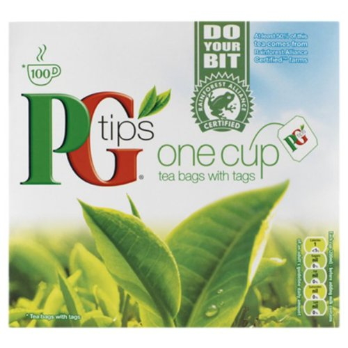 PG Tips One Cup Tea Bags With Tags 100 - Pack Of 12 by PG Tips