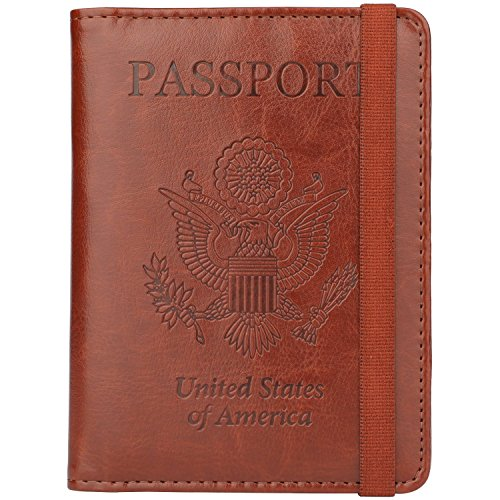 GDTK Leather Passport Holder Cover Case RFID Blocking Travel Wallet (Brown #3)