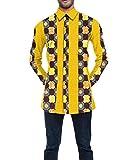 Vska Men Cotton Dashiki Africa Top Oversized Comfortable Dress Shirts 13 L