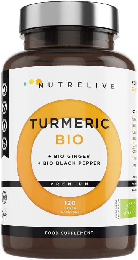 Cúrcuma ECO + Jengibre ECO + Pimienta negra ECO. Producto certificado. Máxima concentración de cúrcuma en cápsulas 1490 mg. Excelente antiinflamatorio Natural y antioxidante. 120 cápsulas vegetales.