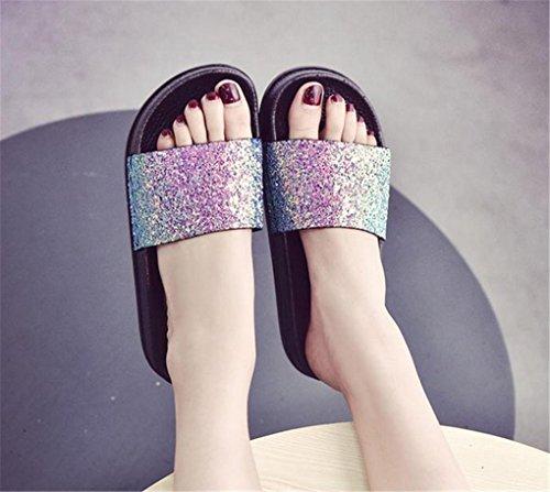 NEWZCERS Pantuflas planas de los cequis del color sólido de las mujeres del verano color