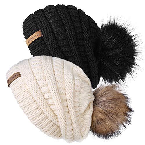 Womens Winter Knit Beanie Hat Skull Cap Slouchy Beanie Pom Pom Hats for Women (Casual Women Winter Hat For Fur)