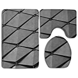 JIAYOUL Toilet Set Metal Flake 3 Piece Bathroom Set Mat Rug Non-Slip Contour Rug Toilet Lid Cover And Bath Mat