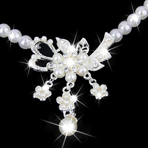 Ensemble Collier et Boucles d'oreilles en Perles Artificielles Bijoux de Mariée pour Mariage