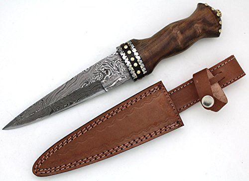 Wild Turkey Handmade Damascus Collection Dirk Sgian Dubh Knife w/ Leather Sheath For Sale