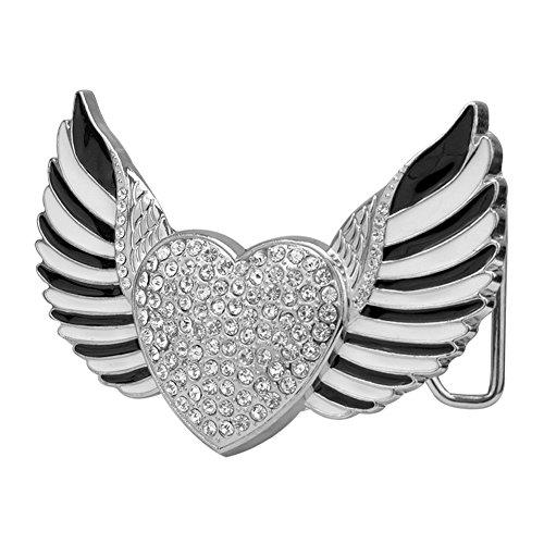 Rhinestone Buckle Fashion Belt (Buckle Rage Adult Womens CZ Heart Enamel Wings Rock & Roll Belt Buckles)