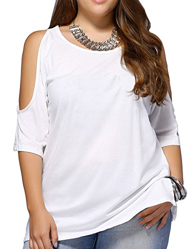 Allegrace Women Plus Size Cold Shoulder T Shirt Short Sleeve Fashion Top Blouse White 1X (Off Top White Round)