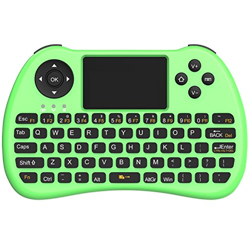 Mouse Rechargeable Mini - (Upgraded Version) Aerb 2.4GHz Mini Wireless Keyboard with Mouse Touchpad Rechargeable Combos for PC, Pad, Google Android TV Box and More (NonBacklit-Green)