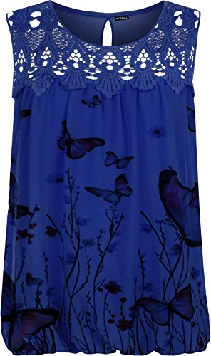 WearAll Women's Plus Crochet Butterfly Print Lined Sleeveless Lace Vest Top - Royal Blue - US 12-14 (UK 16-18)