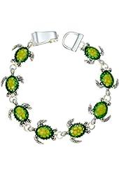 PammyJ Silvertone Green Turtle Charm Magnetic Clasp Bracelet