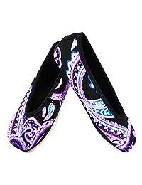 Nufoot Ballet Flats Women's Shoes, Best Foldable & Flexible Flats, Slipper Socks, Travel Slippers & Exercise Shoes, Dance Shoes, Yoga Socks, House Shoes, Indoor Slippers, Purple Paisley, X-Large