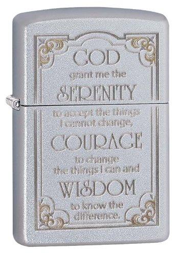 Zippo Serenity Prayer Pocket Lighter, Satin Chrome