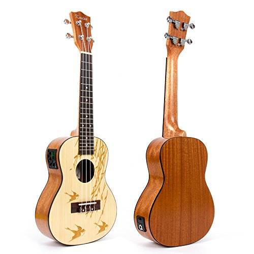Electric Ukulele 23 Inch Electro-Acoustic Soild Spruce Concert Ukulele Hawaii Guitar