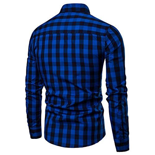 Pour Unie Gladdon Casual Chandail Popeline Unique Longues Carreaux Et Bleu Chemises Business Chemise Manches Simple Hommes Homme À Flanelle Poitrine En 1SqwP18