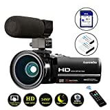Video Camera Camcorder 1080P Full HD 24MP IR Night Vision YouTube Vlogging Camera 3.0'' Touch Screen 16X Digital Zoom Camera Recorder with Microphone, Wide Angle Lens, Remote Control, 32GB Memory Card