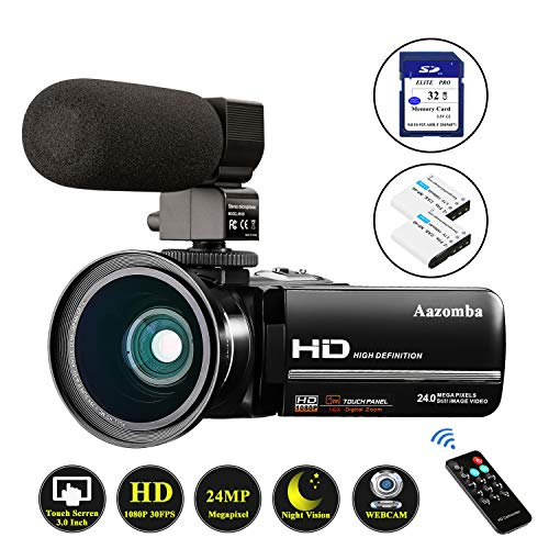 "Video Camera Camcorder 1080P Full HD 24MP IR Night Vision YouTube Vlogging Camera 3.0"" Touch Screen 16X Digital Zoom Camera Recorder with Microphone, Wide Angle Lens, Remote Control, 32GB Memory Card"