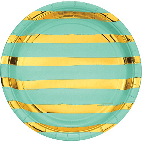 Fresh Mint Green and Gold Foil Striped Paper Plates, 24 ct (Plates Striped Paper)