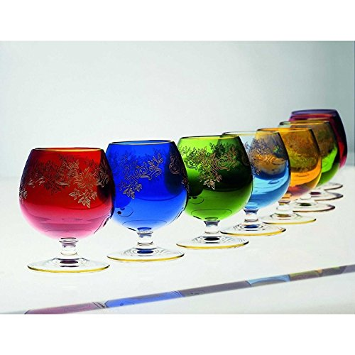 Multi-Colored Set of 6 ADAGIO French Crystal Brandy Glasses With Gold Unlaid Border by CRISTALLERIE DE MONTBRONN