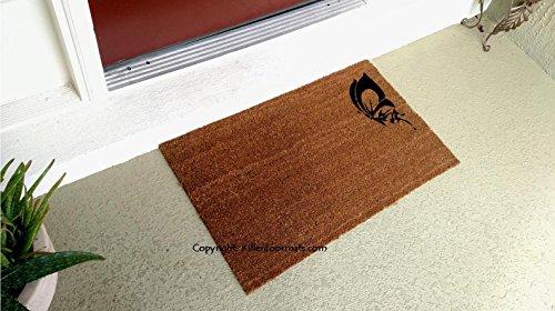 Simple Butterfly Custom Handpainted Welcome Doormat by Killer Doormats, Size Large - Welcome Mat - Doormat