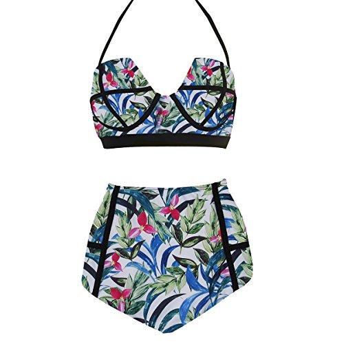 - LA PLAGE Women's High Waist Floral Padded Bra Swimwear size M US leaf blue