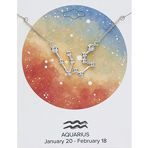 Sterling Forever Women's Zodiac Necklace - 'When Stars Align' Constellation Necklace, Silver Plated (Aquarius (Jan 20 - Feb 18) with Premium Gift Carding) ()