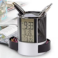 EDTO Multi-Function Digital LED Desk Alarm Clocks Mesh Pen Pencil Holder Calendar Timer Temperature (A)