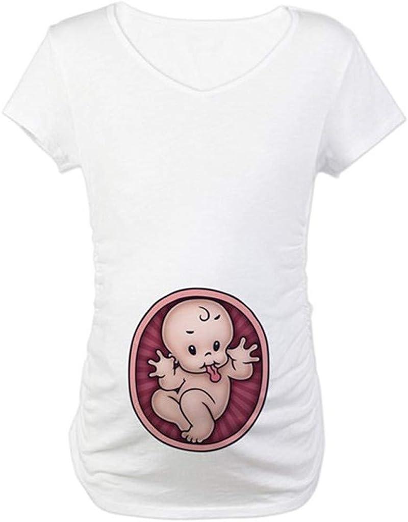 Femmes Enceinte Grossesse V/êtements de maternit/é Tops de maternit/é T-Shirt Tee Shirt de Grossesse Motif Humour Imprim/é Saison D/Ét/é Femmes Enceintes Manche Courte Grande Taille feiXIANG