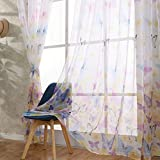 ClearanceQuaanti 1 Panel Butterfly Voile Tulle Window Curtain,Butterflies Sheer Window Voile Panel Drapes Curtain,Grommet Window Treatment for Living Room,Kids Girls Room,Nursery Room (Pink)