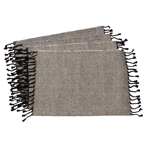 SARO LIFESTYLE 4869.BK1420B Elijah Collection Jute And Cotton Placemats With Tassel Borders (Set of 4) 14