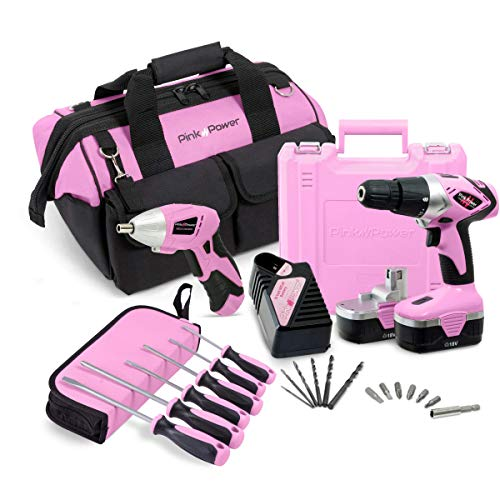 Pink Power 18V Cordless Drill Driver & Electric Screwdriver Combo Kit with Tool Bag (Renewed)