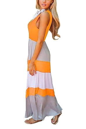 8e07e8b66f9c9 Women s Casual Maxi Dresses Sleeveless Striped Solid Cotton A-Line Maxi  Long Dress Summer at Amazon Women s Clothing store