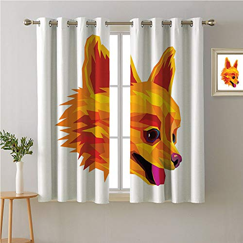 Jinguizi Pomeranian Grommets Drapes/Draperies,Digital Art Illustration Domestic Pet Animal Profile with The Polygonal Effect,Family Darkening Curtains,72W x 72L ()