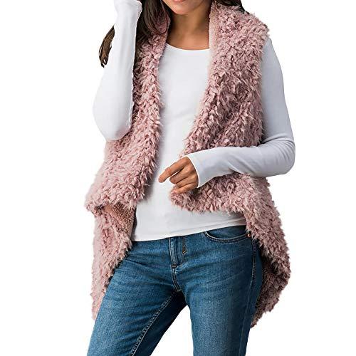 LISTAH Faux Fur Sweater Vest Women Sleeveless Warm Waistcoat Coat Jacket ()