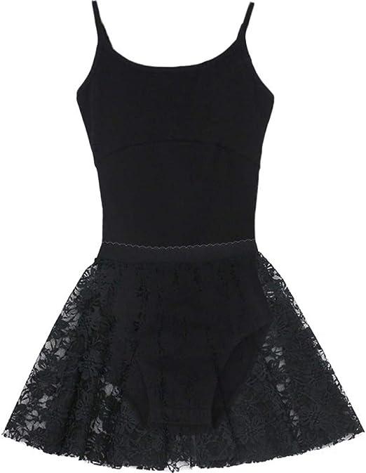 WYGH Leotardos de Baile para niñas Negro/Rosa con Falda Sling ...