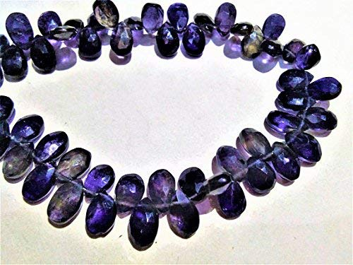 - Iolite 6x9 to 7x10mm Faceted pear Shape Beads, Loose Strand, Iolite Gemstone Necklace Jewelry 8