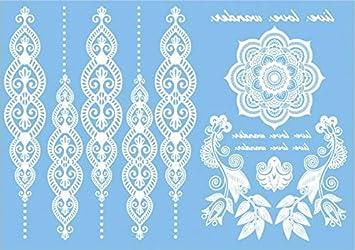 COKOHAPPY Blanco White Cordón Temporales Tatuaje mandala Flor ...