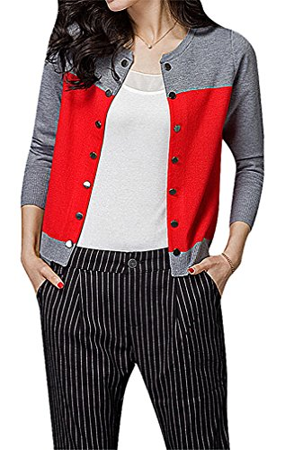 Maze, Women's Panelled Long Sleeve Button Up Ribbed Cuff O Neck Mini Cardigan, Red M ,Manufacturer(L)