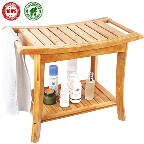 Shower Bench, Spa Seat With 2-Tire Storage Racks Shelf, Durable and Stable Indoor &Outdoor Bench with 100% Bamboo, Nice Curving Bench- by HERDZI