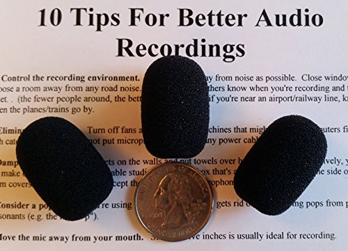 Compete Audio CA525 Small Microphone Windscreens (Microphone Covers) 3-Pack for Telex Airman, Other Headset/Lapel (Lavalier) ()