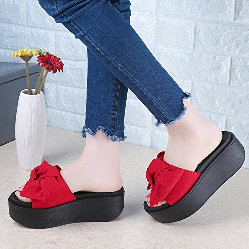 Slippers Summer Slip Sandals Flip Pink Woman Flops Bowtie Thytas Beach Big Resistant wYvqxR