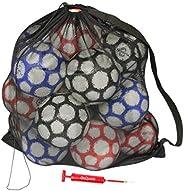 GoSports Premium Mesh Ball Bag with Sport Ball Pump, Black, Full Size