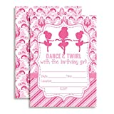 Dance and Twirl Ballerina Birthday Party Invitations for Girls, Ten 5''x7'' Fill In Cards with 10 White Envelopes by AmandaCreation